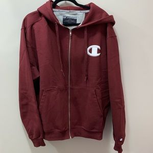 Champion Burgundy Reverse Weave Zip Up Hoodie